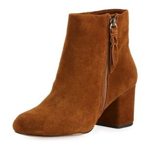 [Splendid] Cognac Suede Chunky Heel Ankle Boots